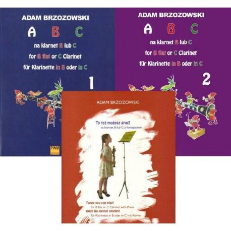 ABC NA KLARNET B LUB C. PODRĘCZNIK DO NAUKI GRY NA KLARNECIE DLA NAJMŁODSZYCH. KOMPLET Adam Brzozowski