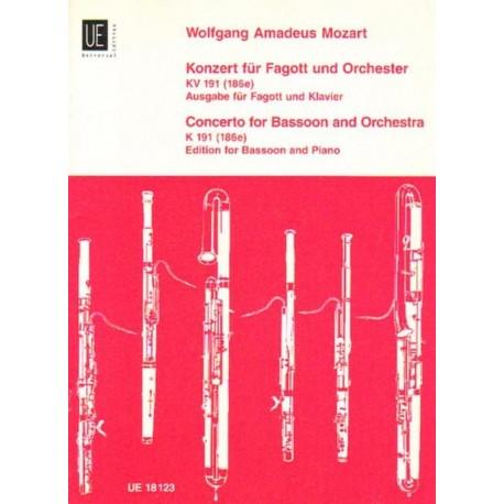 Wolfgang Amadeus Mozart KONZERT FUR FAGOTT UND ORCHESTER KV 191 (186e). AUSGABE FUR FAGOTT UND KLAVIER [antykwariat]