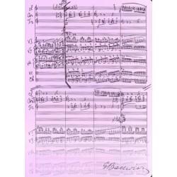 Teczka wrzosowa z motywem nut i autografem Grażyny Bacewicz