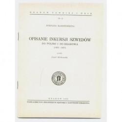 STEFANA RANOTOWICZA OPISANIE INKURSJI SZWEDÓW DO POLSKI I DO KRAKOWA (1655-1657) [antykwariat]